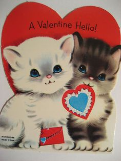 25 Darling Vintage Valentine Kitty Cat Cards Deba Do Tell