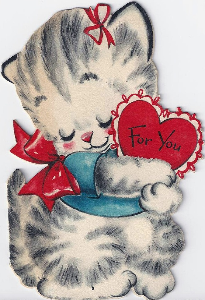25 Darling Vintage Valentine Kitty Cat Cards - Deba Do Tell